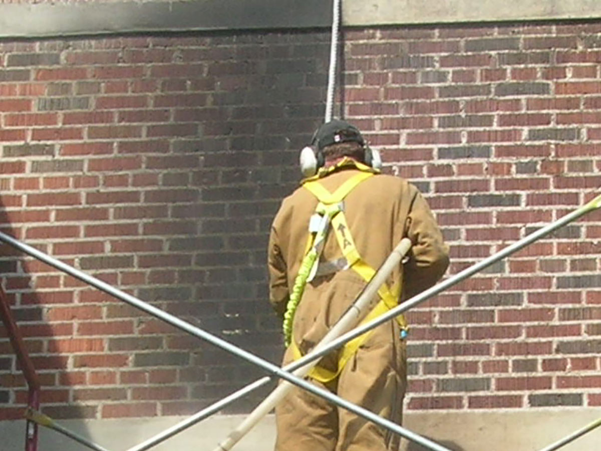 Fire and smoke damage removal from bricks