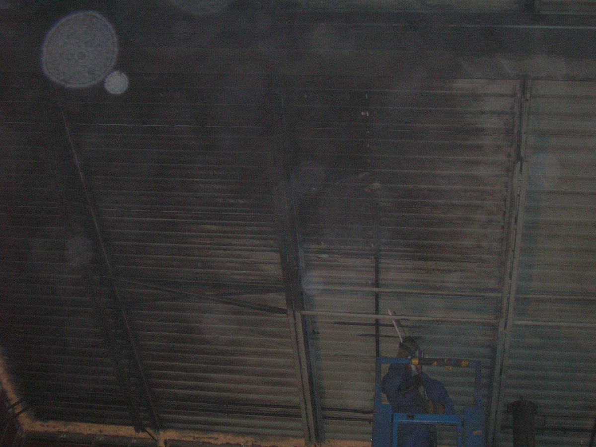 Smoke and fire removal on metal ceiling